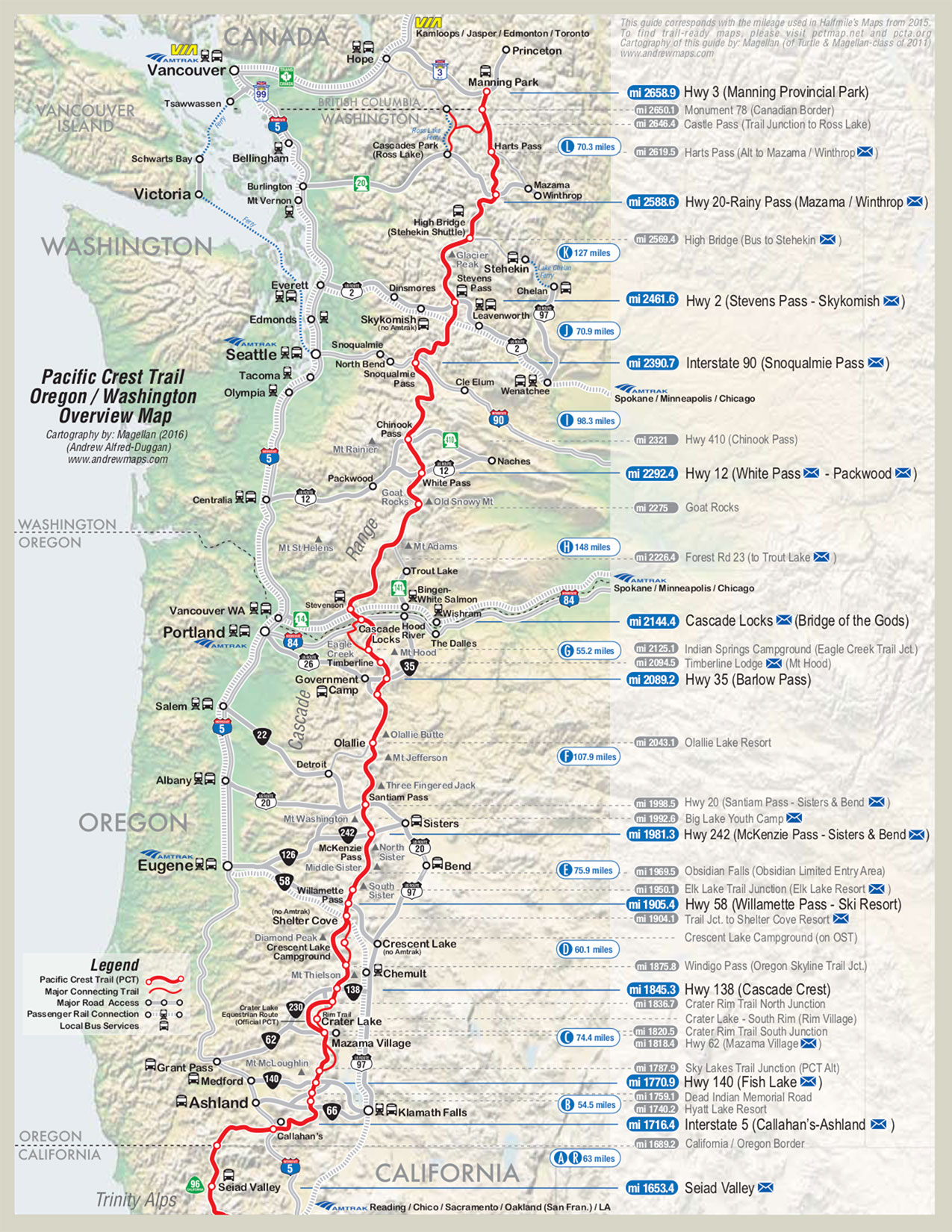 OR+WA resupply map: (courtesy of Halfmile - www.pctmap.net) — Reboot ...
