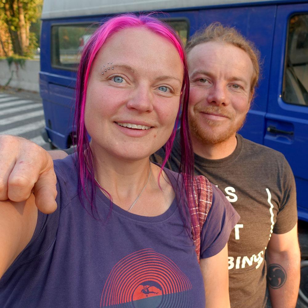 Karma + Scott + Dory the blue adventure bus