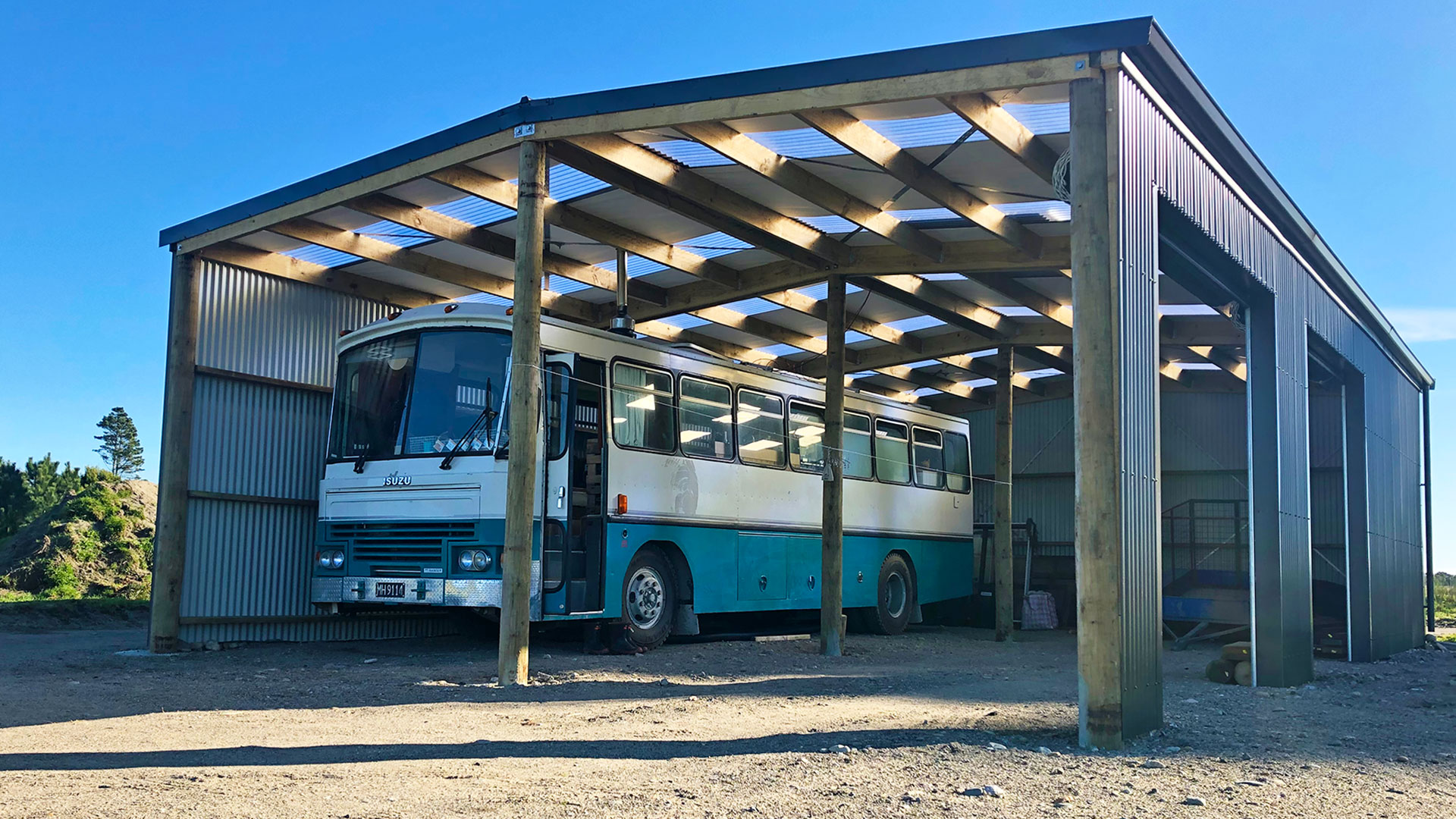 the bus parked in our barn